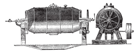 counterweight: Boiler, E. Transmission by which the boiler is set in motion by means of the worm F. A Tuyan steam arrival. G Manhole. G counterweight. H steam Exhaust Valve, vintage engraved illustration. Industrial encyclopedia E.-O. Lami - 1875.