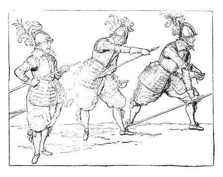 Pikemen under Henri IV, vintage engraved illustration. Industrial encyclopedia E.-O. Lami - 1875. Illusztráció