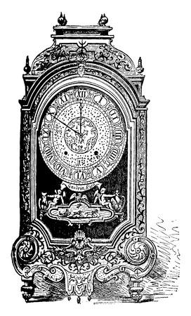 reloj de pendulo: Péndulo firmó Gaudron, bola de género, ilustración de la vendimia grabado. E.-O. enciclopedia Industrial Lami - 1875.