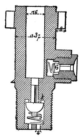 idraulico: Pompa principale pugno idraulica, vintage illustrazione inciso. Enciclopedia Industrial E.-O. Lami - 1875. Vettoriali