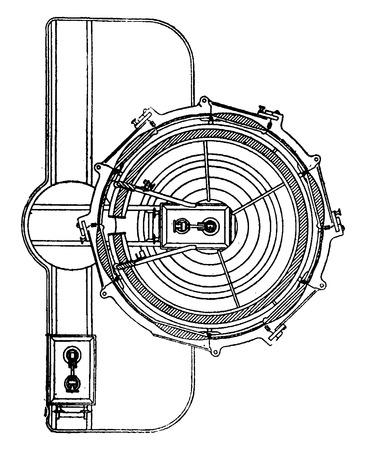 Horizontalschnitt der Vorrichtung mit elektrischem Licht, Jahrgang gravierte Darstellung. Industrielle Enzyklopädie E.-O. Lami - 1875. Standard-Bild - 41720889