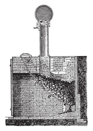 Siemens Backofen, Jahrgang gravierte Darstellung. Industrielle Enzyklopädie E.-O. Lami - 1875. Standard-Bild - 41720923