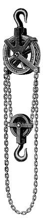 cadenas: Polea diferencial, ilustración de la vendimia grabado. E.-O. enciclopedia Industrial Lami - 1875.