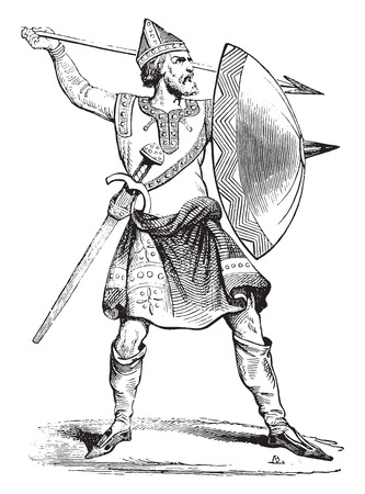 Norman soldier, vintage engraved illustration. Industrial encyclopedia E.-O. Lami - 1875. Illusztráció