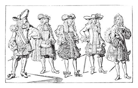 French gentlemen (1675-1694), vintage engraved illustration. Industrial encyclopedia E.-O. Lami - 1875.