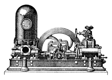 Steam pump has two cylinders direct action coupled, M. Thirion, vintage engraved illustration. Industrial encyclopedia E.-O. Lami - 1875.