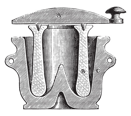 Mortel, vintage gegraveerde illustratie. Industriële encyclopedie E.-O. Lami - 1875. Stock Illustratie