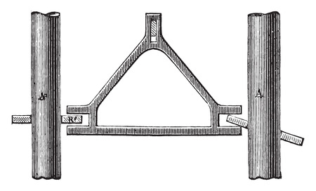 Particolare del pennello carboni a doppia lampada, vintage illustrazione inciso. Enciclopedia Industrial E.-O. Lami - 1875. Archivio Fotografico - 41720932