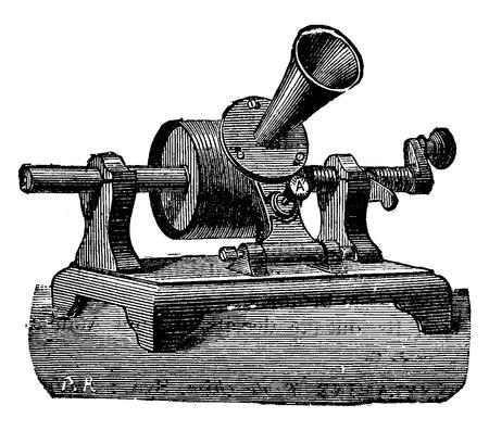 phonograph: Edison phonograph, vintage engraved illustration. Industrial encyclopedia E.-O. Lami - 1875.
