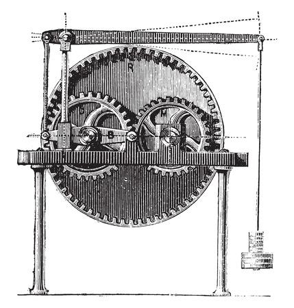 an engraving: Raffard dynamometer, vintage engraved illustration. Industrial encyclopedia E.-O. Lami - 1875. Illustration