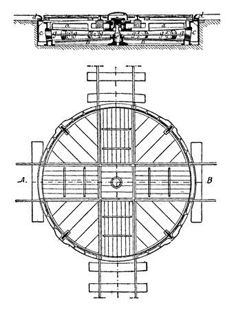 턴테이블, 계획 및 섹션, 빈티지 새겨진 된 그림. 산업 백과 사전 E.-O. 라미 - 1875.