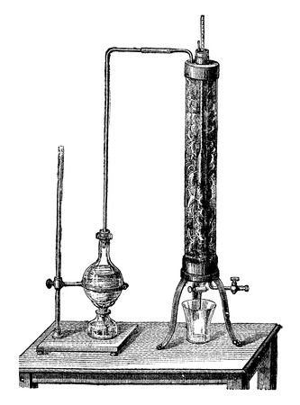 consistency: Apparatus for testing the consistency of lubricating oils, vintage engraved illustration. Industrial encyclopedia E.-O. Lami - 1875.