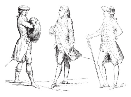 habit: Habit has the English, court dress and summer hat suit with Swiss (1778-1780), vintage engraved illustration. Industrial encyclopedia E.-O. Lami - 1875. Illustration