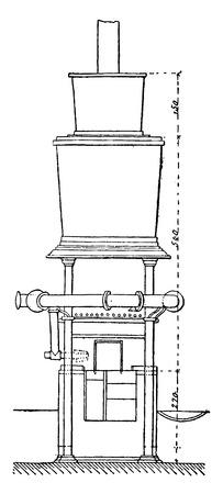 elevation: Kast furnace, Elevation, vintage engraved illustration. Industrial encyclopedia E.-O. Lami - 1875.