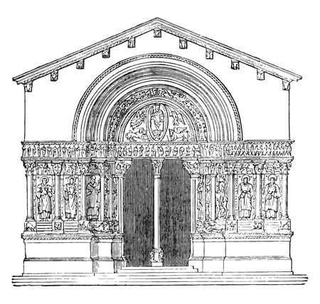 roman catholic: St. Trophime Church, Arles, vintage engraved illustration. Industrial encyclopedia E.-O. Lami - 1875.