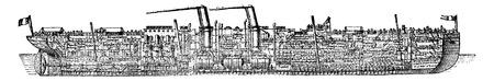 Ship Normandy, vintage engraved illustration. Industrial encyclopedia E.-O. Lami - 1875.