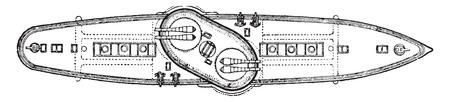 a battleship: Italia, Italian battleship, vintage engraving.