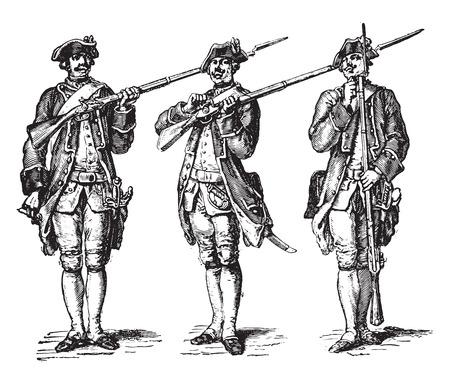Load the gun, after the Gravelot (1776), vintage engraved illustration. Industrial encyclopedia E.-O. Lami - 1875. 일러스트