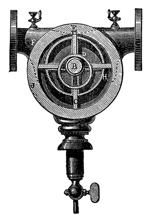 rotary: Type of rotary pump with a single axis and four pallets, vintage engraved illustration. Industrial encyclopedia E.-O. Lami - 1875.