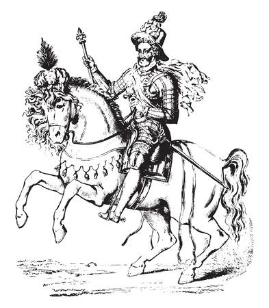 Henry IV, vintage engraved illustration. Industrial encyclopedia E.-O. Lami - 1875.
