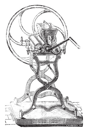 industrial machine: Grinding machine colors, vintage engraved illustration. Industrial encyclopedia E.-O. Lami - 1875.