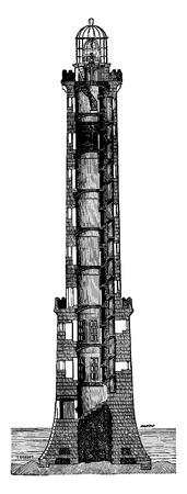 flagship: Section of flagship Heaux de Brehat, vintage engraved illustration. Industrial encyclopedia E.-O. Lami - 1875. Illustration