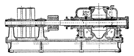 casing: Longitudinal section of the entire pump Greindl, buildup on the iron casing, vintage engraved illustration. Industrial encyclopedia E.-O. Lami - 1875.