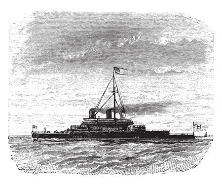 battleship: Devastation, English battleship without mature, vintage engraved illustration. Industrial encyclopedia E.-O. Lami - 1875.