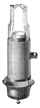 Bec Argand with the layout of the glass, as amended by Quinquet, vintage engraved illustration. Industrial encyclopedia E.-O. Lami - 1875. Banco de Imagens - 41721037