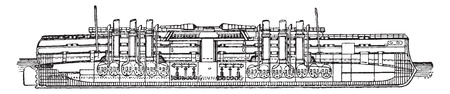 battleship: Italia, Italian battleship, vintage engraved illustration. Industrial encyclopedia E.-O. Lami - 1875. Illustration