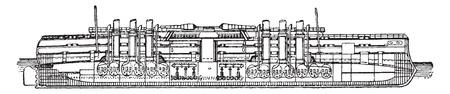 Italia, Italian battleship, vintage engraved illustration. Industrial encyclopedia E.-O. Lami - 1875. Illustration