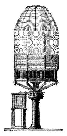 Fire apparatus eclipses, vintage engraved illustration. Industrial encyclopedia E.-O. Lami - 1875. Illusztráció