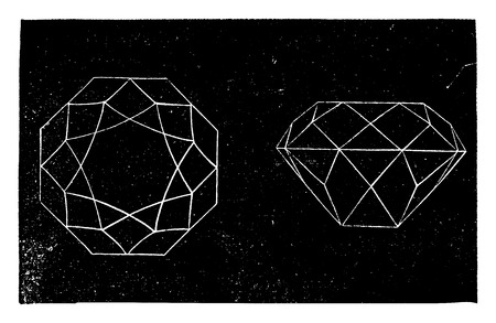 gemstones: Brilliant, vintage engraved illustration. Industrial encyclopedia E.-O. Lami - 1875. Illustration