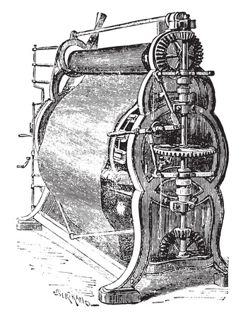 Wool factory or napping machine the sheet, vintage engraved illustration. Industrial encyclopedia E.-O. Lami - 1875. Ilustração