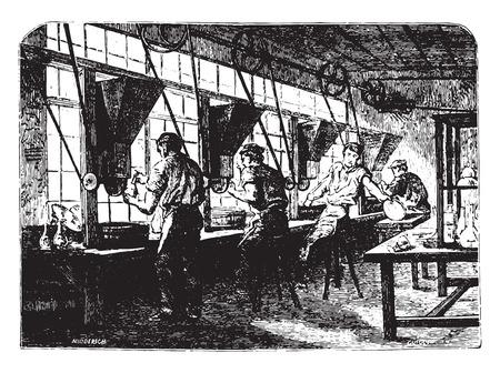 size: Crystal size, vintage engraved illustration. Industrial encyclopedia E.-O. Lami - 1875.