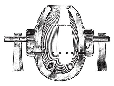 penetrate: Airbox, Orifices of nozzles, vintage engraved illustration. Industrial encyclopedia E.-O. Lami - 1875. Illustration