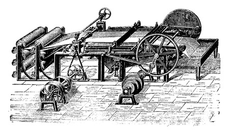 industrial machine: Cutting machine lengthwise and crosswise, vintage engraved illustration. Industrial encyclopedia E.-O. Lami - 1875.