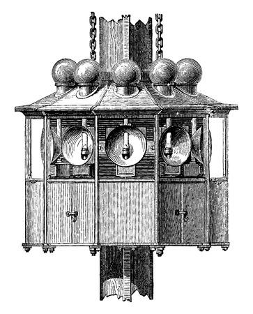 apparatus: Lighting apparatus floating fire, vintage engraved illustration. Industrial encyclopedia E.-O. Lami - 1875. Illustration