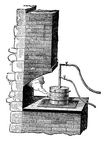HIDROGENO: Crisol, tubo de gas, hidrógeno y el tubo de oxígeno, ilustración de la vendimia grabado. E.-O. enciclopedia Industrial Lami - 1875.