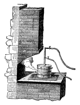 gas stove: Crucible, Gas tube, Hydrogen and oxygen tube, vintage engraved illustration. Industrial encyclopedia E.-O. Lami - 1875.