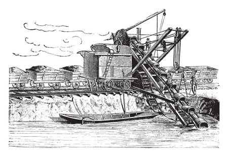 Used excavator digging the new bed of the Danube, vintage engraved illustration. Industrial encyclopedia E.-O. Lami - 1875.
