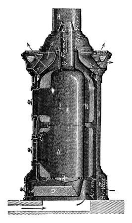 blower: Stove hot air blower, Haillot system, vintage engraved illustration. Industrial encyclopedia E.-O. Lami - 1875. Illustration