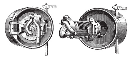 breech: Breech mechanism interrupted screw threads (Bange System), vintage engraved illustration. Industrial encyclopedia E.-O. Lami - 1875.