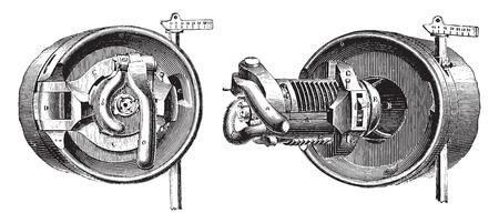 breech: Breech mechanism interrupted screw threads (Bange System), vintage engraved illustration. Industrial encyclopedia E.-O. Lami - 1875.