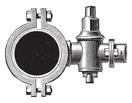 lateral: Lateral hydrant, vintage engraved illustration. Industrial encyclopedia E.-O. Lami - 1875. Illustration