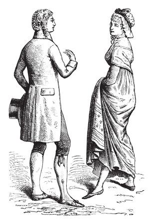 engraved: Patterns 1795, vintage engraved illustration. Industrial encyclopedia E.-O. Lami - 1875.