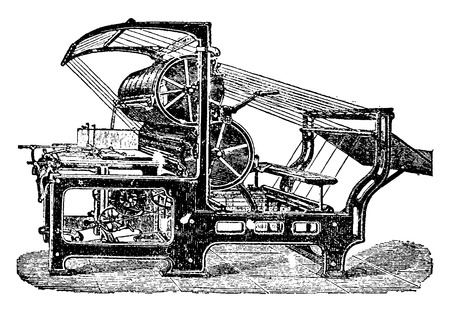 industrial machine: Machine set or setter, vintage engraved illustration. Industrial encyclopedia E.-O. Lami - 1875.