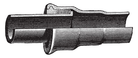 cast iron: Joint mate to lead, vintage engraved illustration. Industrial encyclopedia E.-O. Lami - 1875.