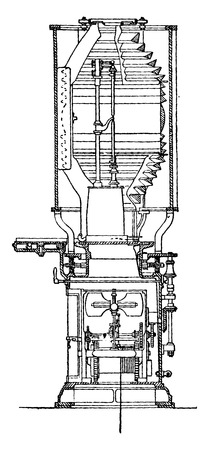 apparatus: Vertical section of the apparatus electric light lighthouse Planier, vintage engraved illustration. Industrial encyclopedia E.-O. Lami - 1875. Illustration