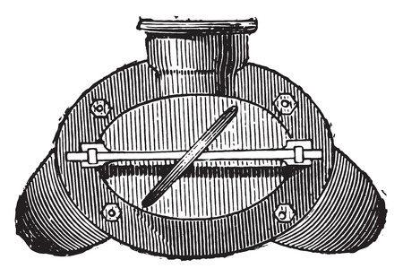 retort: Gas retort, end view, vintage engraved illustration. Industrial encyclopedia E.-O. Lami - 1875.
